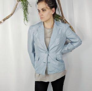 MARC JACOBS blue shimmer cotton career blazer